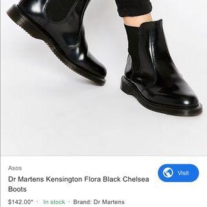 Dr Marten Black Flora Chelsea Boots Size 9